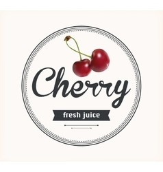 Cherry juice detailed label vector