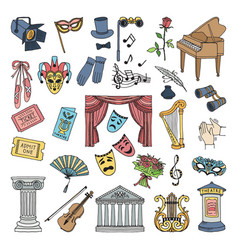 colored symbols of theatre ballet and opera vector image