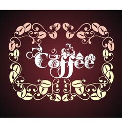 Cup of coffee with floral design elements vector image