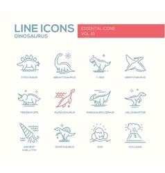 Dinosaurs species- line design icons set vector image vector image