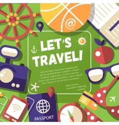Flyer with modern flat design travel vacation vector image vector image