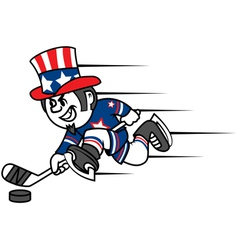 Hockey Uncle Sam vector image vector image