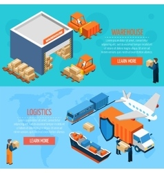 Isometric Warehouse Logistics Banners vector image vector image
