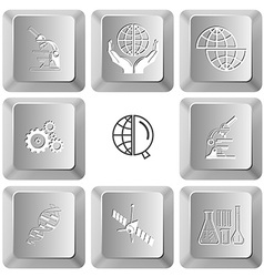 lab microscope protection world shift globe gears vector image vector image