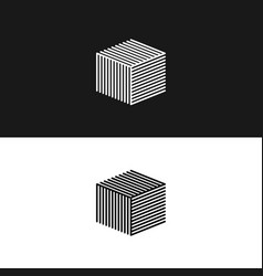 Linear cube logo 3d isometric architecture box vector