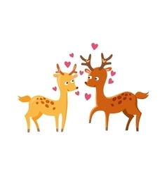 Lovely deers falling in love nature cute animal vector