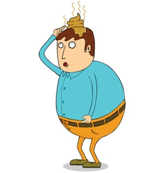 Man with droppings on head vector