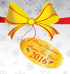 Merry Christmas and Happy New Year 2016 Gift on vector image