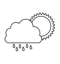 Monochrome contour of cloud with rain and sun vector