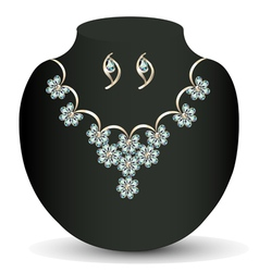 necklace and earrings female vector image vector image