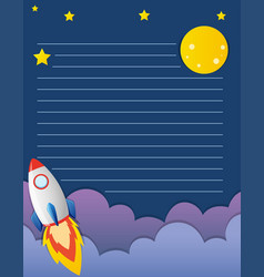 Paper template with rocketship in background vector