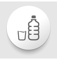 plastic water bottle and glass vector image vector image