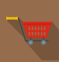 red plastic shopping basket on wheels icon vector image