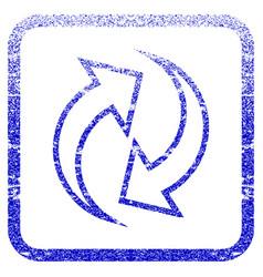 Refresh arrows framed textured icon vector