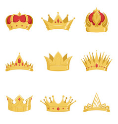 royal golden crowns set symbols of power of the vector image vector image