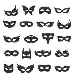 Set collection of black carnival masquerade masks vector