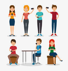 Smartphone addiction concept modern lifestyle vector