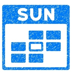 Sunday calendar grid grainy texture icon vector
