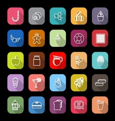 Sweet food line icons with long shadow vector