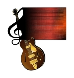 treble clef stave jazz guitar vector image