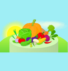 Vegetables horizontal banner cartoon style vector
