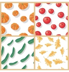 Set of autumn harvest seamless patterns vector