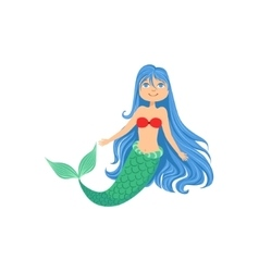 Blue hair mermaid in red swimsuit top bra fairy vector