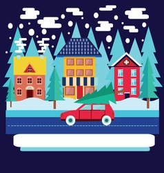 Merry christmas and winter holiday greeting card vector