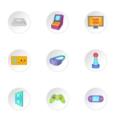 Play console icons set cartoon style vector image