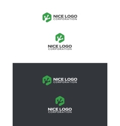 Green alien logo vector