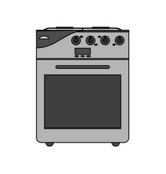 Color image cartoon stove gas with oven vector