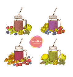 Set of smoothies detox water and drinks vector