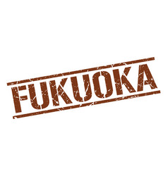 Fukuoka brown square stamp vector