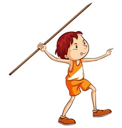 A coloured sketch of a boy holding a stick vector image