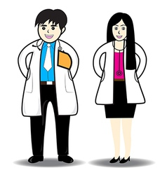 Doctor man and doctor woman vector