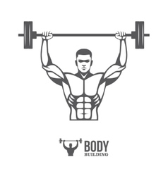 Bodybuilder lifting barbell vector