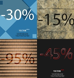 15 95 45 icon set of percent discount on abstract vector