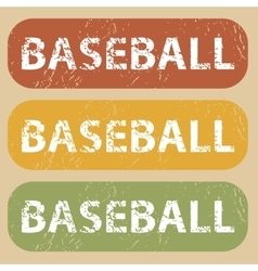 Vintage baseball stamp set vector