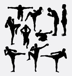 Thai boxer martial art silhouettes vector
