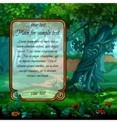 Mystical landscape with frame for text vector
