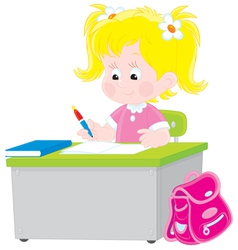 Schoolgirl writing a test in school vector