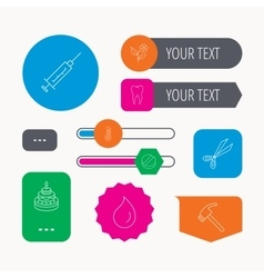 Tooth syringe and tablet icons flower drop vector