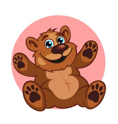 Smiling brown bear toy vector