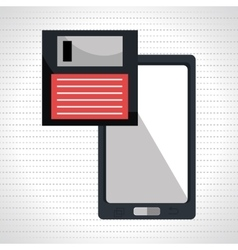 Floppy disk with smartphone isolated icon design vector