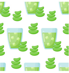 Aloe vera drink seamless pattern vector
