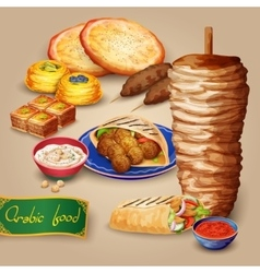 Arabic food set vector