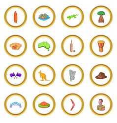 Australia travel icons circle vector