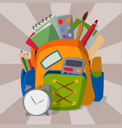 backpack full of school supplies student baggage vector image