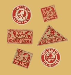 biking stamps with environmental message vector image