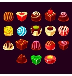 Candies cute sweet game elements vector